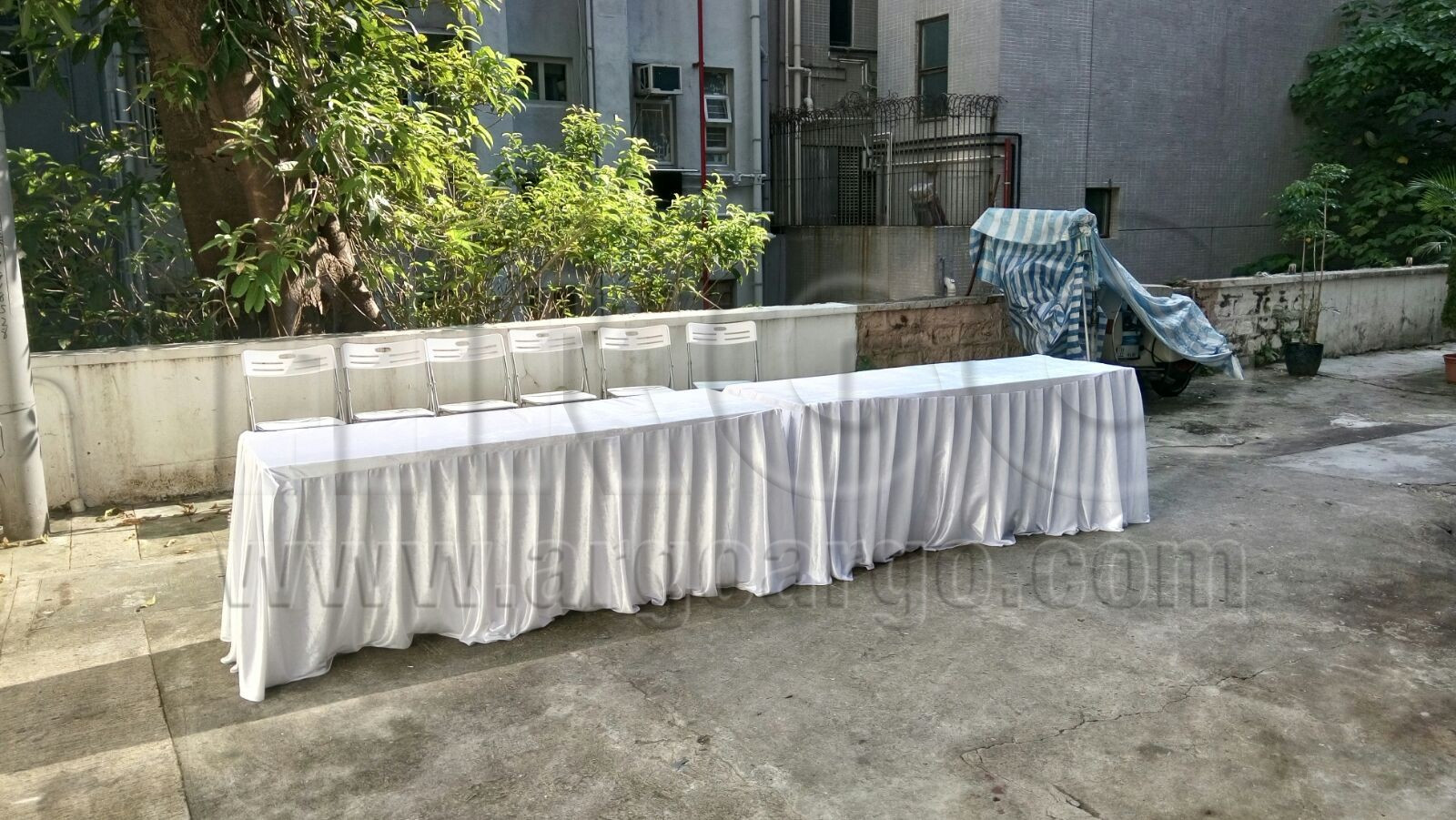White Velvet Long Table Cover